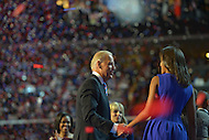 September 6, 2012  (Charlotte, North Carolina) Vice President Joseph Biden talks to the president's daughter Sasha on the last night of the 2012 Democratic National Convention In Charlotte.   (Photo by Don Baxter/Media Images International)