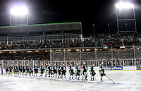 North Dakota prior to the outdoor game against Nebraska-Omaha at TD Ameritrade Park in Omaha, Neb., Saturday, Feb. 9, 2013. (Photo by Michelle Bishop)