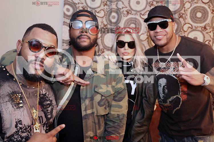 ALPHARETTA, GA - OCTOBER 27: Zo, Polow Da Don, Fergie and Flo Rida backstage at Q100's Q-Topia in Alpharetta, Georgia on October 27, 2017. Credit: Walik Goshorn/MediaPunch /NortePhoto.com