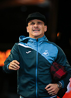 Roque Mesa of Swansea City arrives ahead of the Premier League match between Swansea City and Liverpool at the Liberty Stadium, Swansea, Wales on 22 January 2018. Photo by Mark Hawkins / PRiME Media Images.