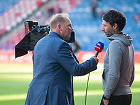 Lincoln City manager Danny Cowley is interviewed for Sky Sports before kick off<br /> <br /> Photographer Andrew Vaughan/CameraSport<br /> <br /> The Carabao Cup First Round - Huddersfield Town v Lincoln City - Tuesday 13th August 2019 - John Smith's Stadium - Huddersfield<br />  <br /> World Copyright © 2019 CameraSport. All rights reserved. 43 Linden Ave. Countesthorpe. Leicester. England. LE8 5PG - Tel: +44 (0) 116 277 4147 - admin@camerasport.com - www.camerasport.com