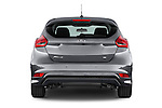 Straight rear view of a 2015 Ford Focus Trend 5 Door Hatchback 2WD Rear View  stock images