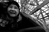 Mushaya Howell (cq), 9, of Marysville, lets out a scream while while dropping down the tracks of the Giant Dipper at the Santa Cruz Beach Boardwalk. Photo taken Friday, April 20, 2007. Sacramento Bee/ Kevin German