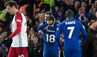 Eden Hazard of Chelsea celebrates his first goal with Olivier Giroud during the Premier League match between Chelsea and West Bromwich Albion at Stamford Bridge, London, England on 12 February 2018. Photo by Andy Rowland.