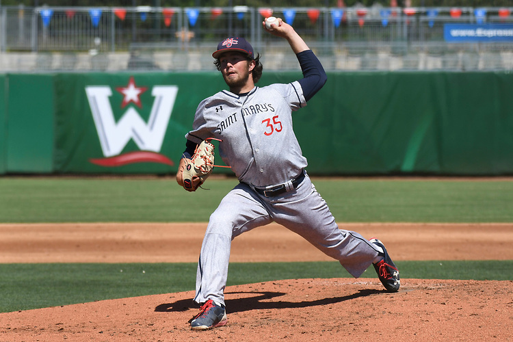 May 25, 2017; Stockton, CA, USA; Saint Mary's Gaels pitcher Ken Waldichuk during the WCC Baseball Championship at Banner Island Ballpark.