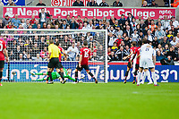 Saturday 17 August 2013<br /> <br /> Pictured: Wilfried Bony of Swansea's shot crosses the line<br /> <br /> Re: Barclays Premier League Swansea City v Manchester United at the Liberty Stadium, Swansea, Wales