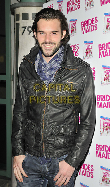 "Bobby Sabel.The ""Bridesmaids"" dvd launch party, Merah nightclub, Wells St., London, England..November 8th, 2011.half length black leather jacket blue scarf beard facial hair .CAP/CAN.©Can Nguyen/Capital Pictures."