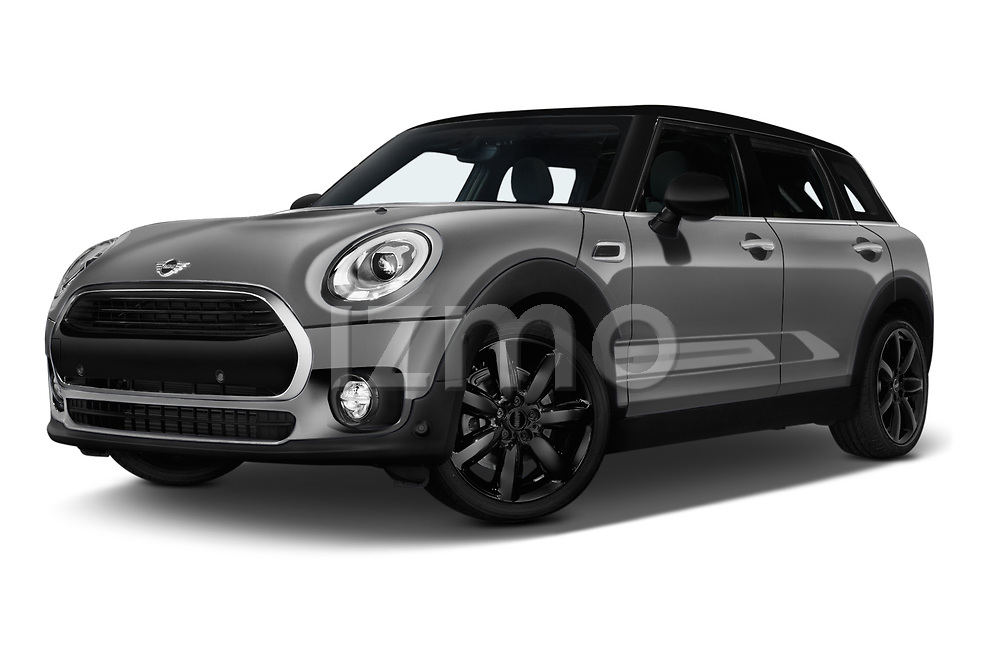 Stock pictures of low aggressive front three quarter view of a 2018 Mini Clubman Cooper Kensington 5 Door Wagon