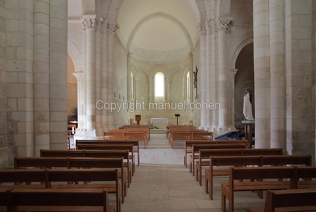 Nave, Church of St Radegonde, built 1094 in Romanesque style, in Talmont sur Gironde, Poitou-Charentes, France. The church overlooks the Gironde Estuary and is on the Via Turonensis pilgrimage route on the way to Santiago de Compostela. Picture by Manuel Cohen