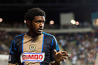 Sheanon Williams (25) of the Philadelphia Union. The Philadelphia Union and the Portland Timbers played to a 0-0 tie during a Major League Soccer (MLS) match at PPL Park in Chester, PA, on July 20, 2013.
