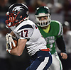 Daniel Striano #17 of Cold Spring Harbor runs the ball during the second quarter of the Nassau County football Conference IV final against Seaford at Shuart Stadium in Hempstead on Friday, Nov. 16, 2018. He ran for two touchdowns (23 and 32 yards) and made an interception in the first half.