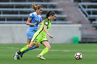 Bridgeview, IL - Wednesday August 16, 2017: Morgan Proffitt, Kiersten Dallstream during a regular season National Women's Soccer League (NWSL) match between the Chicago Red Stars and the Seattle Reign FC at Toyota Park. The Seattle Reign FC won 2-1.