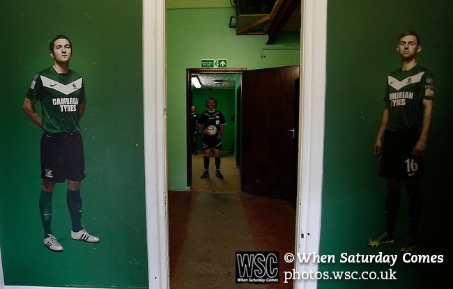 Aberystwyth Town 1 Newtown 2, 17/05/2015. Park Avenue, Europa League Play Off final. The referee waits in the tunnel shortly before kick off. Aberystwyth finished 14 points above Newtown in the Welsh Premier League, but were beaten 1-2 in the Play Off Final. Photo by Paul Thompson.