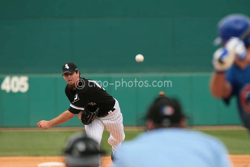 Mar 15, 2008; Tucson, AZ, USA; Chicago White Sox pitcher Boone Logan (57) throws a pitch during a game against the Chicago Cubs in front of a sell-out crowd at Tucson Electric Park.  The White Sox won 5-3.