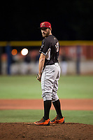 Salem-Keizer Volcanoes relief pitcher Ryan Walker (18) gets ready to deliver a pitch during a Northwest League game against the Hillsboro Hops at Ron Tonkin Field on September 1, 2018 in Hillsboro, Oregon. The Salem-Keizer Volcanoes defeated the Hillsboro Hops by a score of 3-1. (Zachary Lucy/Four Seam Images)