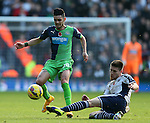 Remy Cabella of Newcastle United tackled by Sebastien Pocognoci of West Bromwich Albion  - Barclays Premier League - WBA vs Newcastle Utd - Hawthorns Stadium - West Bromwich - England - 9th November 2014  - Picture Simon Bellis/Sportimage