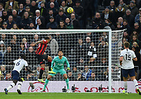 30th November 2019; Tottenham Hotspur Stadium, London, England; English Premier League Football, Tottenham Hotspur versus AFC Bournemouth; the header from Callum Wilson of Bournemouth goes over the crossbar - Strictly Editorial Use Only. No use with unauthorized audio, video, data, fixture lists, club/league logos or 'live' services. Online in-match use limited to 120 images, no video emulation. No use in betting, games or single club/league/player publications