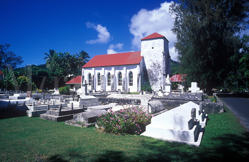 Church and cemetery at Avarua , Rarotonga Is. Resting place of Sir. Albert & Lady Elizabeth Henry, Cook Is. Royal family.
