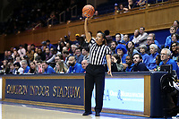 DURHAM, NC - JANUARY 26: Official Talisa Green holds the ball during a game between Georgia Tech and Duke at Cameron Indoor Stadium on January 26, 2020 in Durham, North Carolina.