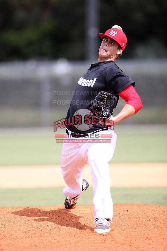Maverick Buffo, #20 of Coatesville Area High School, PA for the Marucci Elite Team during the WWBA World Championship 2013 at the Roger Dean Complex on October 25, 2013 in Jupiter, Florida. (Stacy Jo Grant/Four Seam Images)