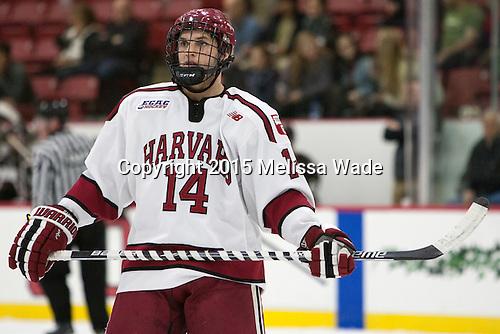 Alexander Kerfoot (Harvard - 14) - The Harvard University Crimson defeated the visiting Brown University Brown Bears 5-2 (EN) on Saturday, November 7, 2015, at Bright-Landry Center in Boston, Massachusetts.