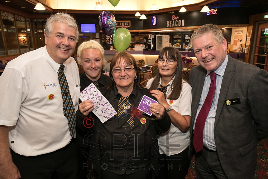 Brenda Ancliff retires from Beacon Bingo in Ilkeston after 30 years. Brenda is pictured centre with from left, colleagues Dave Vernon, Jade Gilborn, Selina Vernon and Manager Martin Riley,