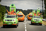 Pressade gang from the publicity caravan during Stage 15 of the 2018 Tour de France running 181.5km from Millau to Carcassonne, France. 22nd July 2018. <br /> Picture: ASO/Bruno Bade | Cyclefile<br /> All photos usage must carry mandatory copyright credit (&copy; Cyclefile | ASO/Bruno Bade)