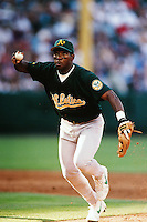 Miguel Tejada of the Oakland Athletics during a game against the Anaheim Angels at Angel Stadium circa 1999 in Anaheim, California. (Larry Goren/Four Seam Images)