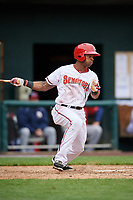 Harrisburg Senators center fielder Zach Collier (1) follows through on a swing during the first game of a doubleheader against the New Hampshire Fisher Cats on May 13, 2018 at FNB Field in Harrisburg, Pennsylvania.  New Hampshire defeated Harrisburg 6-1.  (Mike Janes/Four Seam Images)