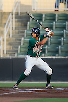 Carlos Lopez (7) of the Greensboro Grasshoppers at bat against the Kannapolis Intimidators at CMC-NorthEast Stadium on August 30, 2014 in Kannapolis, North Carolina.  The Intimidators defeated the Grasshoppers 3-1.  (Brian Westerholt/Four Seam Images)