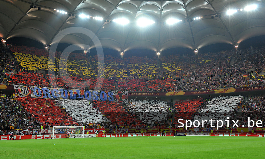 Uefa Europa League Final Bucharest 2012 : Wednesday 9 May 2012 - National Arena Bucharest : Club Atletico de Madrid - Athletic Club Bilbao.het Madrileense supportersvak met tifo : Orgullosos.foto DAVID CATRY