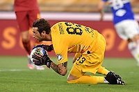 Antonio Mirante of AS Roma in action during the Serie A football match between AS Roma and UC Sampdoria at Olimpico stadium in Rome ( Italy ), June 24th, 2020. Play resumes behind closed doors following the outbreak of the coronavirus disease. AS Roma won 2-1 over UC Sampdoria. <br /> Photo Andrea Staccioli / Insidefoto
