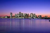Harbor skyline sunset from Logan airport, Boston, MA