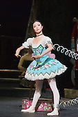 22/07/2014. London, England. Shiori Kase as Swanilda/Coppélia Doll. Working stage rehearsal of Coppélia with the English National Ballet at the London Coliseum. With Shiori Kase as Swanilda and Yonah Acosta as Franz. Choreography by Ronald Hynd after Marius Petipa to music by Léo Delibes. Music performance by the Orchestra of the English National Ballet conducted by Gavin Sutherland. Photo credit: Bettina Strenske