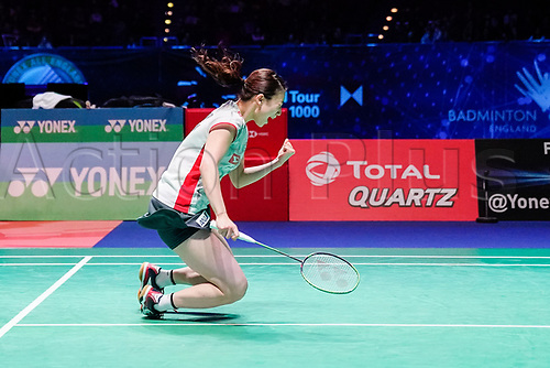 18th March 2018, Arena Birmingham, Birmingham, England; Yonex All England Open Badminton Championships; Yuta Watanabe (JPN) and Arisa Higashino (JPN) celebrate winning in the mixed doubles final against Zheng Siwei (CHN) and Huang Yaqiong (CHN)