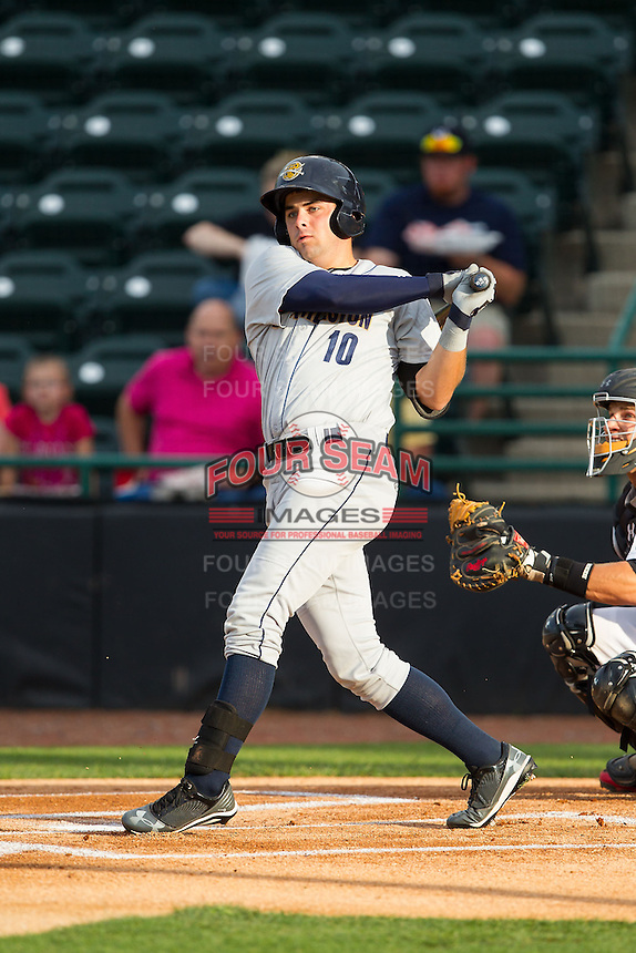 Michael O'Neill (10) of the Charleston RiverDogs follows through on his swing against the Hickory Crawdads at L.P. Frans Stadium on June 2, 2014 in Hickory, North Carolina.  The Crawdads defeated the RiverDogs 9-6.  (Brian Westerholt/Four Seam Images)