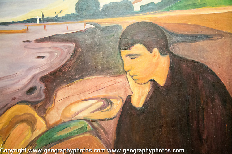 'Melancholy' 1894-96 oil painting on canvas by Edvard Munch 1863-1944, Kode 3 art gallery Bergen, Norway - copyright restrictions in USA and Spain