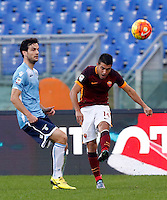 Calcio, Serie A: Roma vs Lazio. Roma, stadio Olimpico, 8 novembre 2015.<br /> Roma's Iago Falque,right, kicks the ball past Lazio's Marco Parolo during the Italian Serie A football match between Roma and Lazio at Rome's Olympic stadium, 8 November 2015.<br /> UPDATE IMAGES PRESS/Riccardo De Luca
