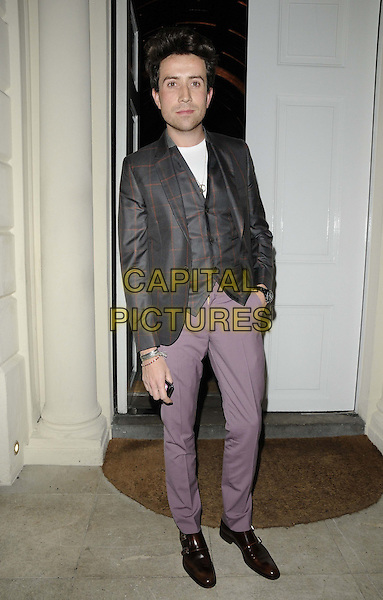 Nick Grimshaw.The London Collections: Men GQ Dinner, Sketch bar & restaurant, Conduit St., London, England..January 9th, 2013.full length black grey gray check jacket purple trousers waistcoat.CAP/CAN.©Can Nguyen/Capital Pictures.