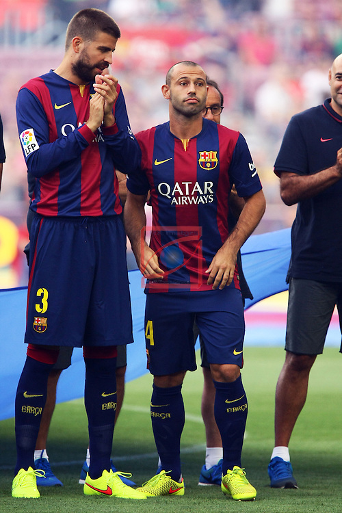 49e Trofeu Joan Gamper.<br /> FC Barcelona vs Club Leon FC: 6-0.<br /> Pique &amp; Mascherano.