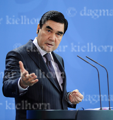 August 29-16,Chancellery,Berlin,Germany<br /> Turkmen President Gurbanguly Berdimukhamedov,after discussing selling gas to European Union countries, talks at a joint news conference with German Chancellor Angela Merkel.