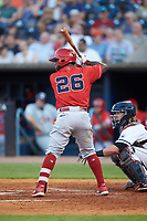 Dilson Herrera (26) of the Louisville Bats at bat against the Toledo Mud Hens at Fifth Third Field on June 16, 2018 in Toledo, Ohio. The Mud Hens defeated the Bats 7-4.  (Brian Westerholt/Four Seam Images)
