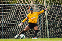 Sky Blue FC goalkeeper Brittany Cameron (1). Sky Blue FC defeated the Boston Breakers 5-1 during a National Women's Soccer League (NWSL) match at Yurcak Field in Piscataway, NJ, on June 1, 2013.