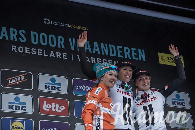 Dwars door Vlaanderen 2018 Women Elite podium:<br /> <br /> 1st place: Ellen Van Dijk (NED/Team Sunweb)<br /> 2nd place:  Amy Pieters (NED/Boels Dotmans)<br /> 3th place: Floortje Mackaij (NED/Team Sunweb)