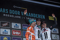 Dwars door Vlaanderen 2018 Women Elite podium:<br /> <br /> 1st place: Ellen Van Dijk (NED/Team Sunweb)<br /> 2nd place:  Amy Pieters (NED/Boels Dotmans)<br /> 3th place: Floortje Mackaij (NED/Team Sunweb)
