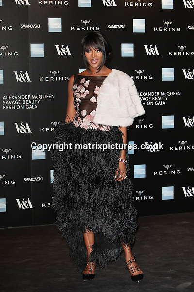 NON EXCLUSIVE PICTURE: MATRIXPICTURES.CO.UK<br /> PLEASE CREDIT ALL USES<br /> <br /> WORLD RIGHTS<br />  <br /> English model Naomi Campbell attending the Victoria &amp; Albert Museum Fashion Benefit Dinner &amp; Alexander McQueen: Savage Beauty Preview, at the Victoria and Albert Museum in London.<br /> <br /> MARCH 12th 2015<br /> <br /> REF: GBH 15832