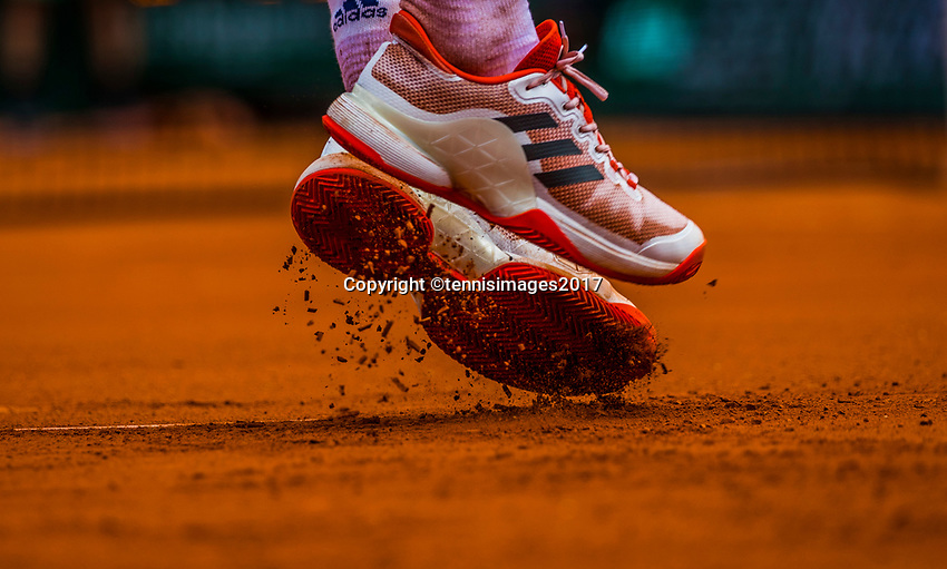 Paris, France, 31 May, 2017, Tennis, French Open, Roland Garros, Shoes of tennisplayer serving<br /> Photo: Henk Koster/tennisimages.com