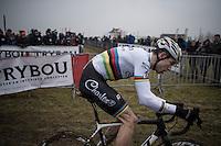 CX World Champion Wout Van Aert (BEL/Crelan-Willems)<br /> <br /> elite men's race<br /> CX Superprestige Noordzeecross <br /> Middelkerke / Belgium 2017