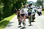 The breakaway group Michael Gogl (AUT) Trek-Segafredo, Dion Smith (NZL) Wanty-Groupe Gobert and Sylvain Chavanel (FRA) Direct Energie during Stage 2 of the 2018 Tour de France running 182.5km from Mouilleron-Saint-Germain to La Roche-sur-Yon, France. 8th July 2018. <br /> Picture: ASO/Alex Broadway | Cyclefile<br /> All photos usage must carry mandatory copyright credit (&copy; Cyclefile | ASO/Alex Broadway)