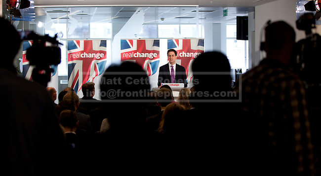 08/07/2012. LONDON, UK. Labour Leader, Ed Miliband, gives a talk on responsible banking at the Cooperative Bank in East London today (09/07/12). Photo credit: Matt Cetti-Roberts